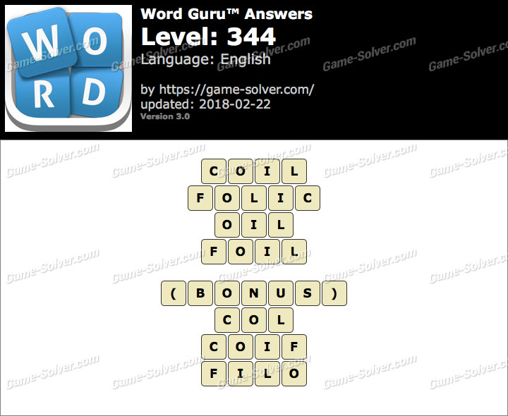 Word Guru Level 344 Answers