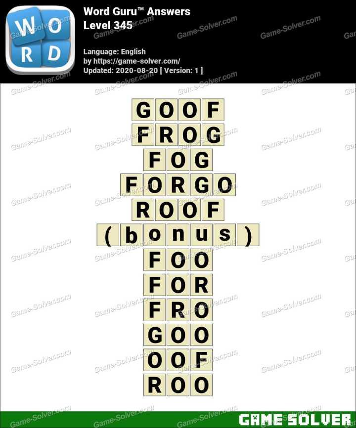 Word Guru Level 345 Answers