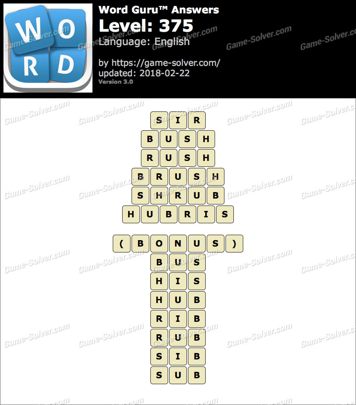 Word Guru Level 375 Answers
