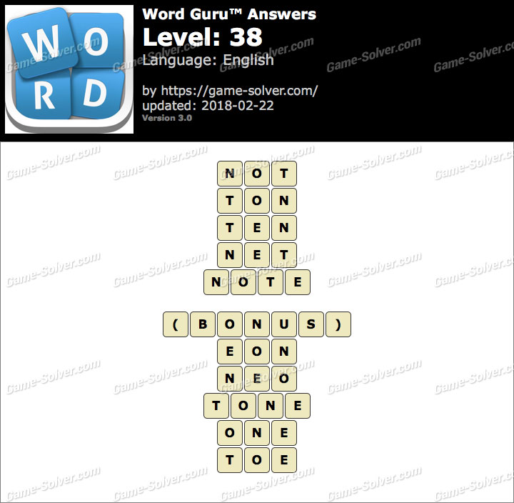 Word Guru Level 38 Answers