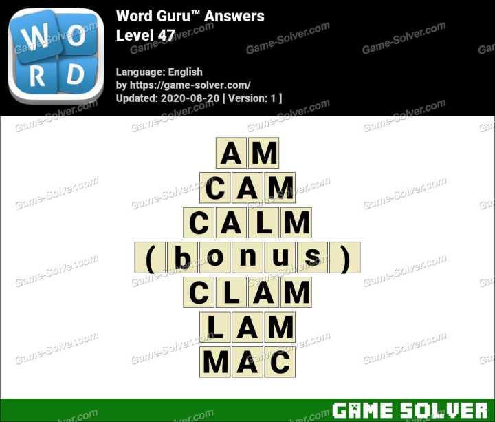 Word Guru Level 47 Answers