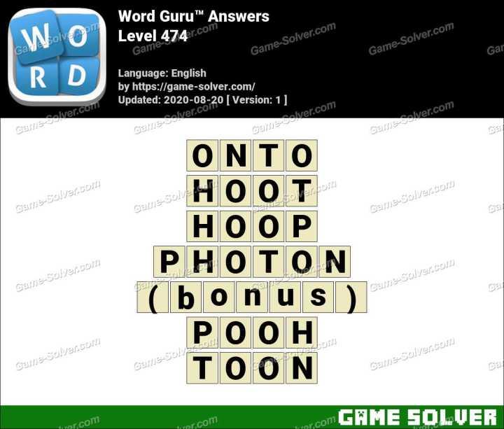Word Guru Level 474 Answers
