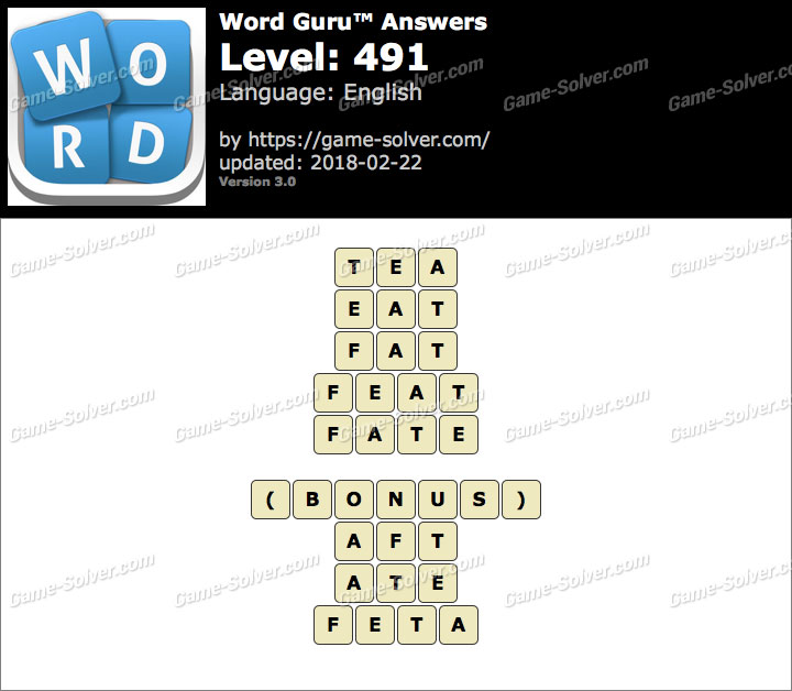 Word Guru Level 491 Answers