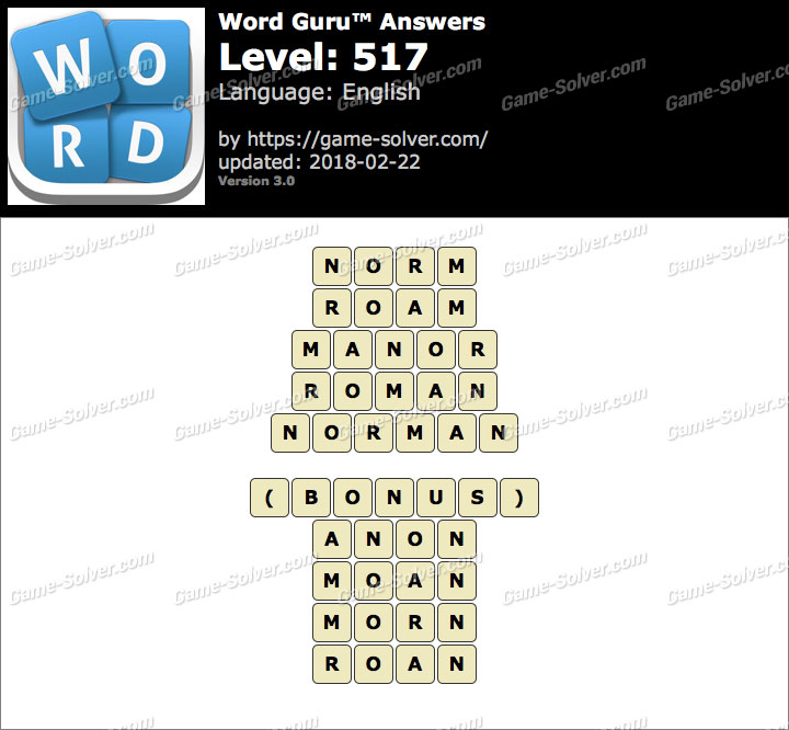 Word Guru Level 517 Answers