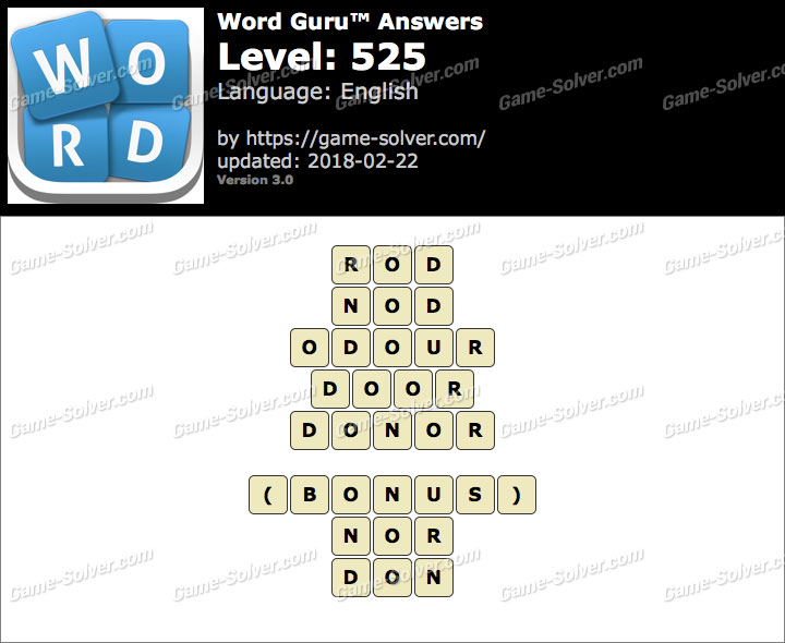 Word Guru Level 525 Answers