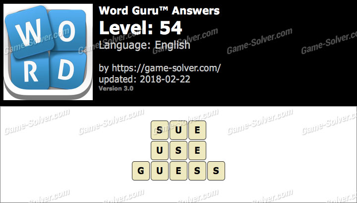 Word Guru Level 54 Answers