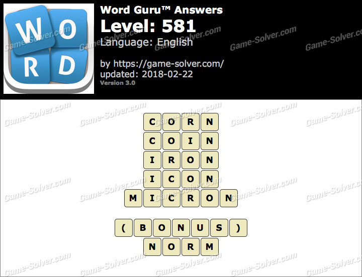 Word Guru Level 581 Answers