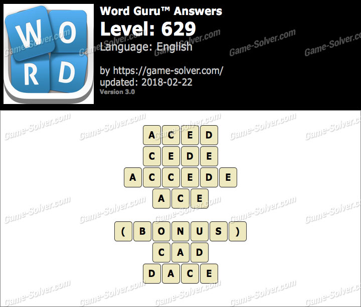 Word Guru Level 629 Answers