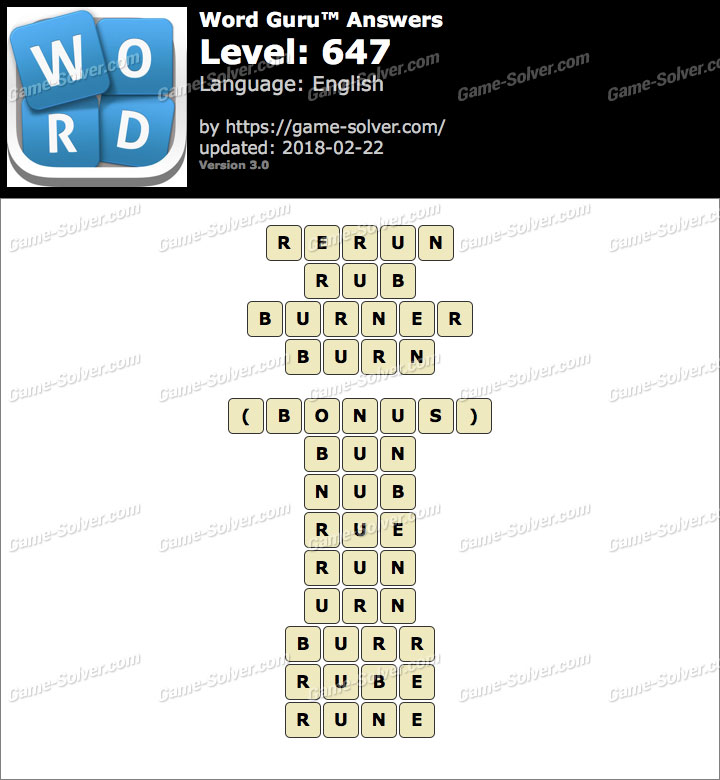 Word Guru Level 647 Answers