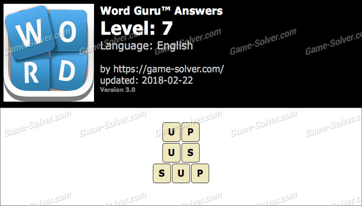 Word Guru Level 7 Answers