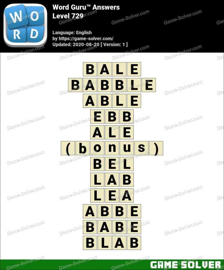 Word Guru Level 729 Answers