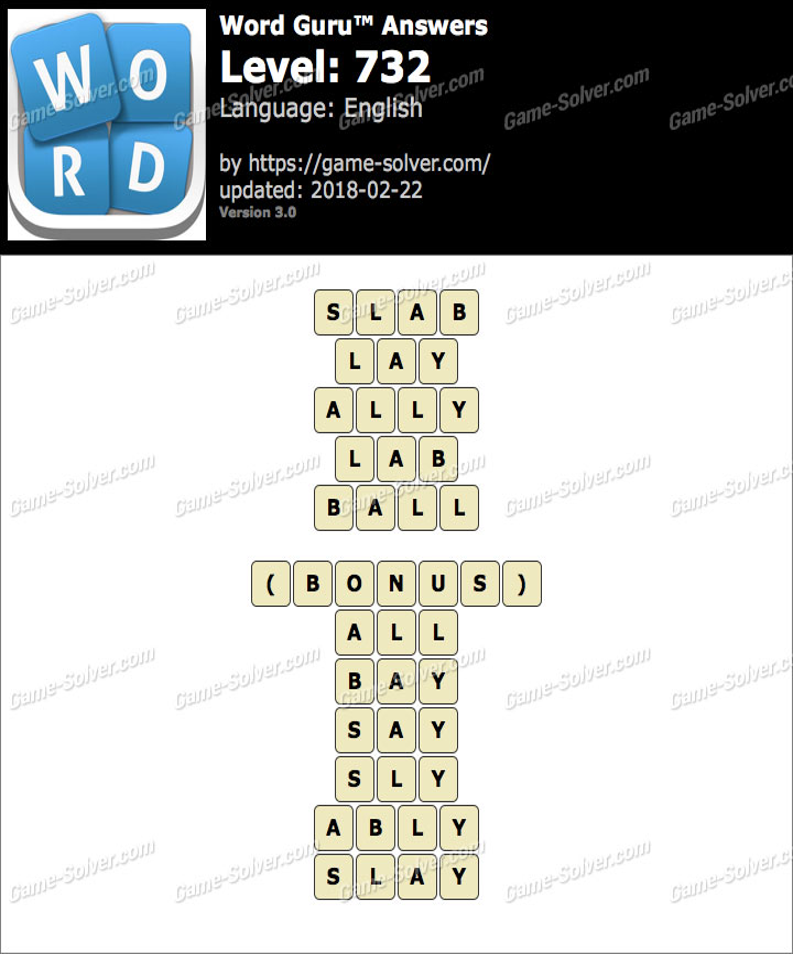 Word Guru Level 732 Answers
