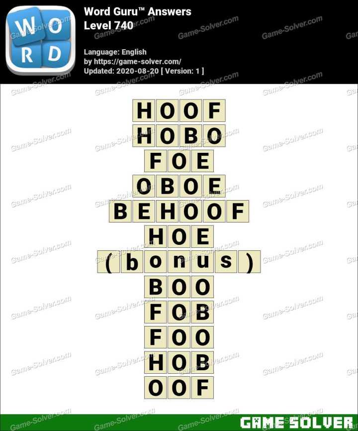 Word Guru Level 740 Answers