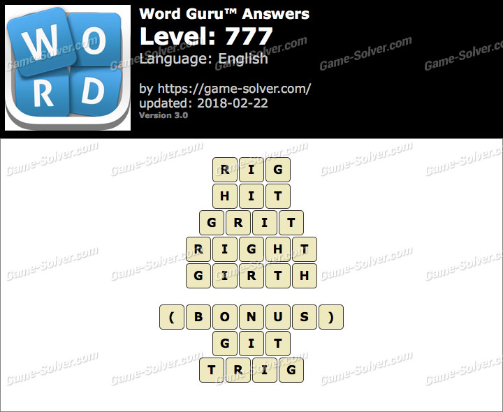 Word Guru Level 777 Answers
