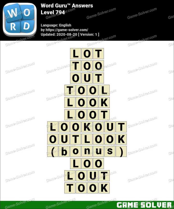 Word Guru Level 794 Answers