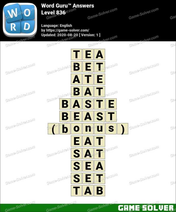 Word Guru Level 836 Answers