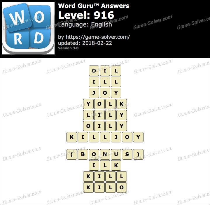 Word Guru Level 916 Answers