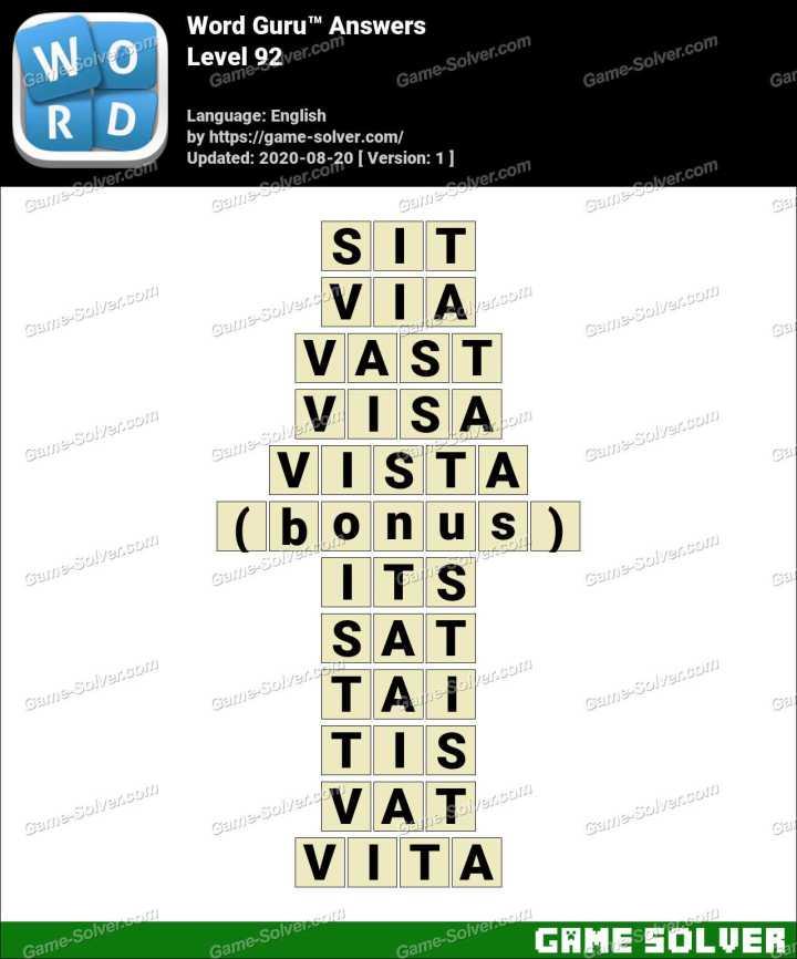 Word Guru Level 92 Answers