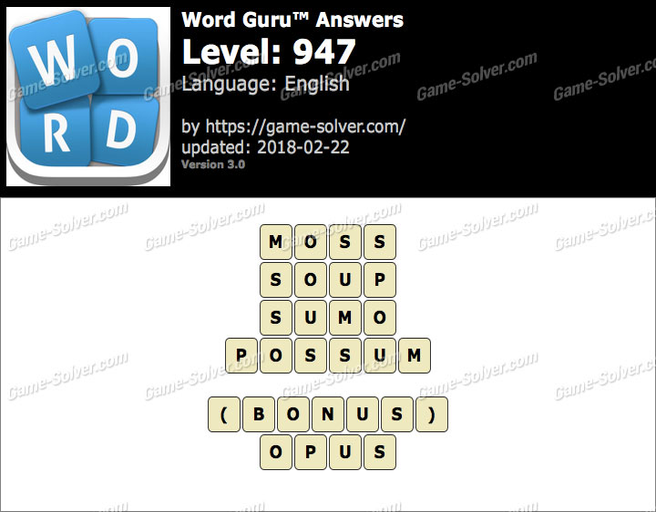 Word Guru Level 947 Answers