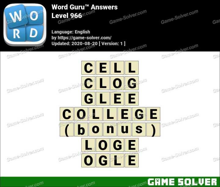 Word Guru Level 966 Answers