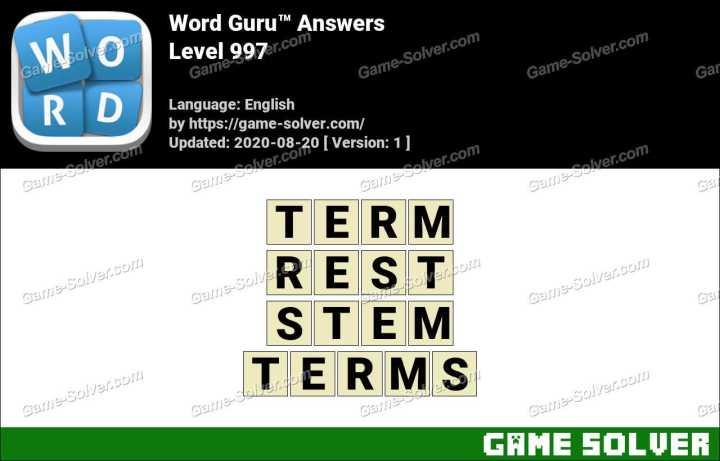 Word Guru Level 997 Answers