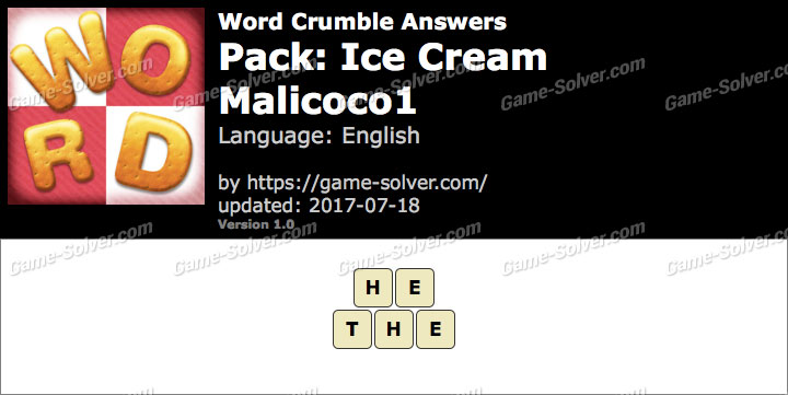 Word Crumble Ice Cream-Malicoco1 Answers