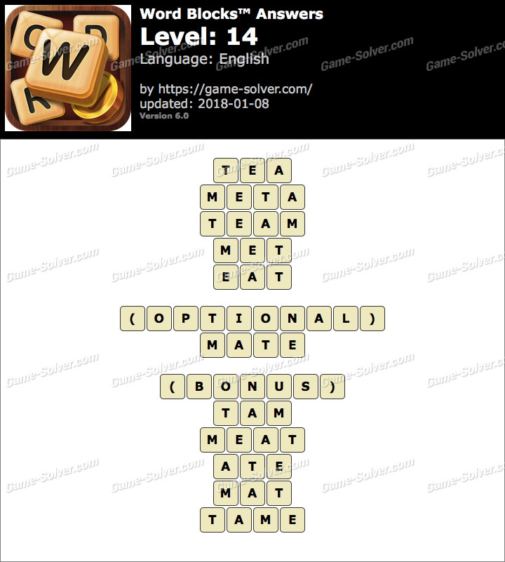 Word Blocks Level 14 Answers