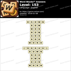 Word Blocks Level 153 Answers