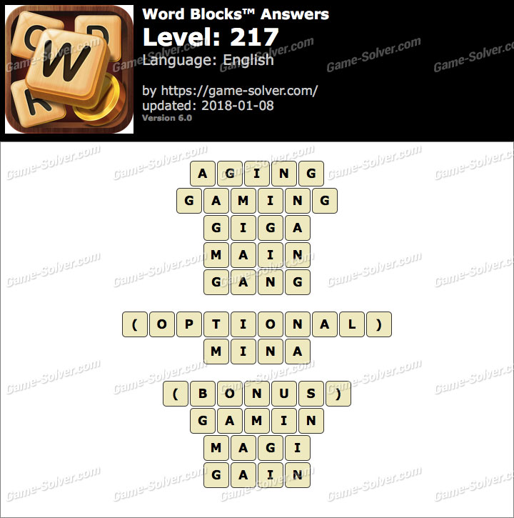 Word Blocks Level 217 Answers