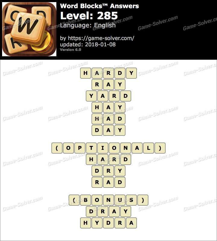 Word Blocks Level 285 Answers