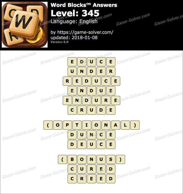 Word Blocks Level 345 Answers