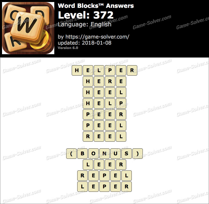 Word Blocks Level 372 Answers