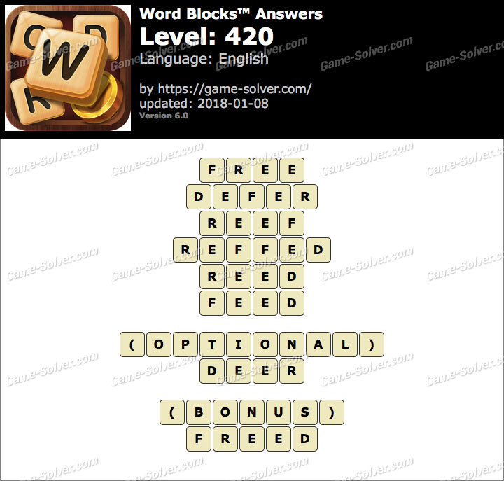 Word Blocks Level 420 Answers