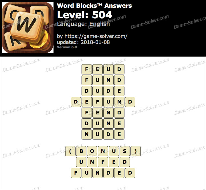 Word Blocks Level 504 Answers