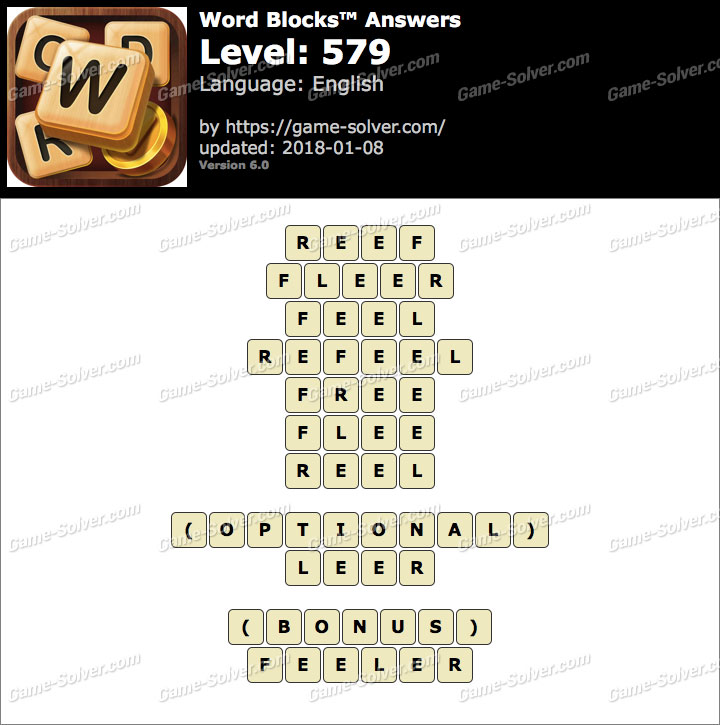 Word Blocks Level 579 Answers