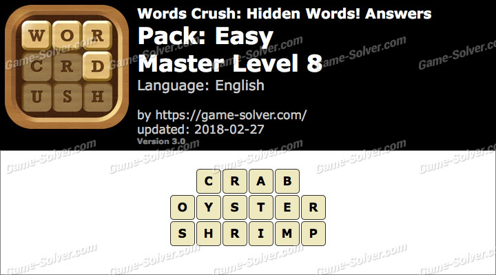Words Crush Easy-Master Level 8 Answers