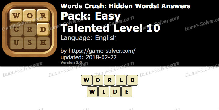 Words Crush Easy-Talented Level 10 Answers