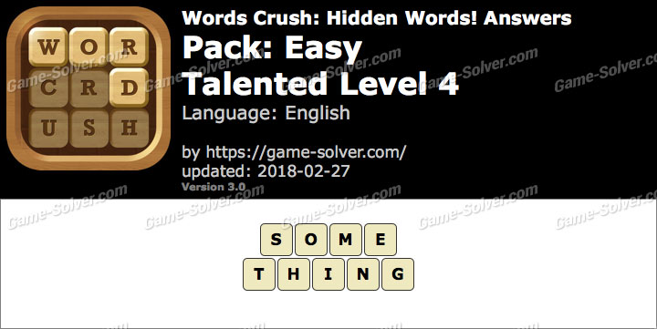 Words Crush Easy-Talented Level 4 Answers