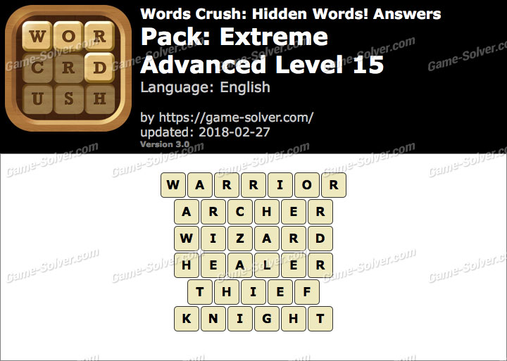 Words Crush Extreme-Advanced Level 15 Answers