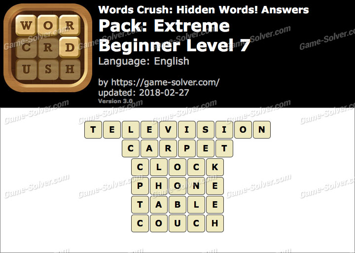 Words Crush Extreme-Beginner Level 7 Answers