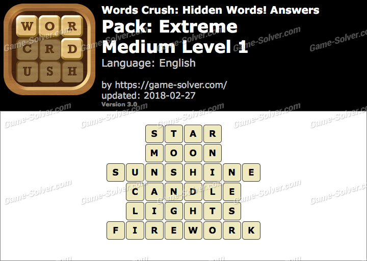 Words Crush Extreme-Medium Level 1 Answers