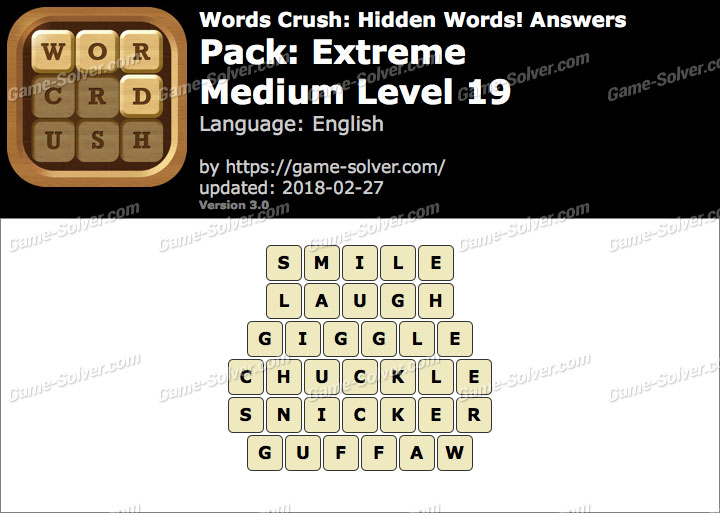 Words Crush Extreme-Medium Level 19 Answers