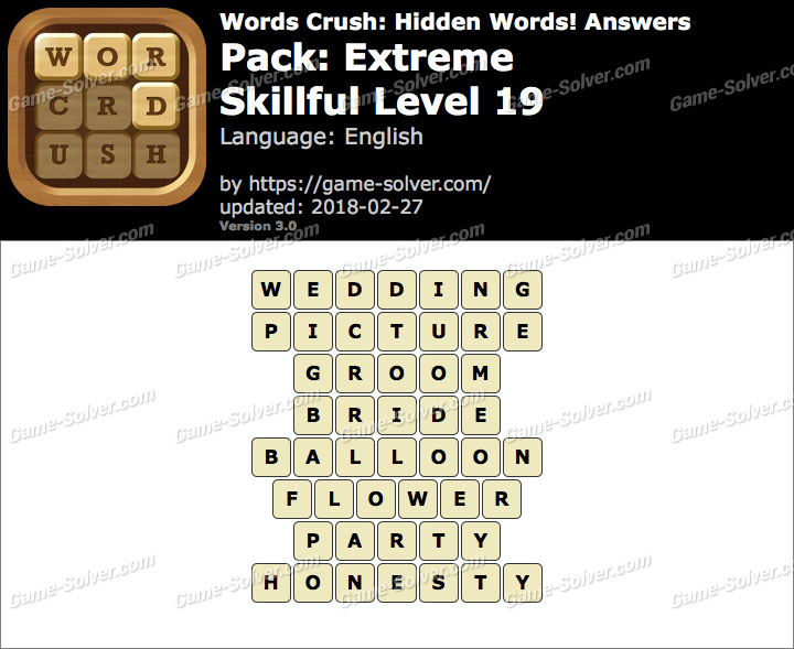 Words Crush Extreme-Skillful Level 19 Answers