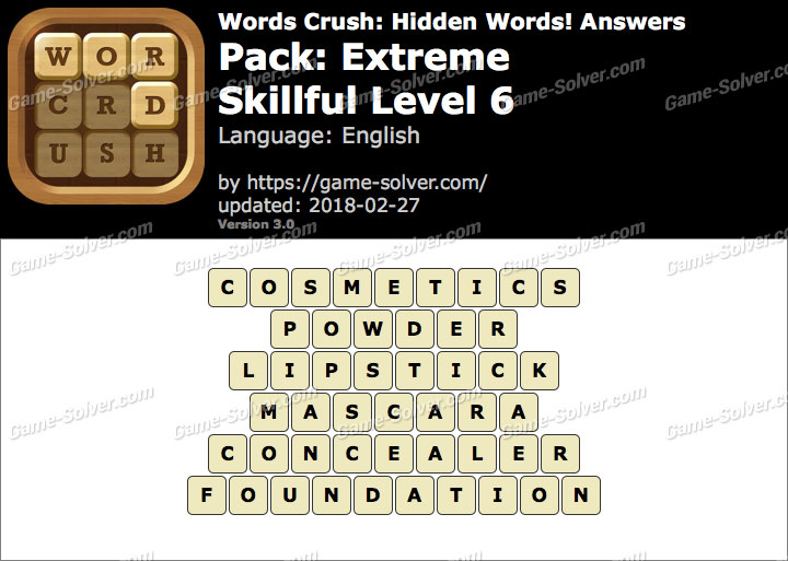 Words Crush Extreme-Skillful Level 6 Answers