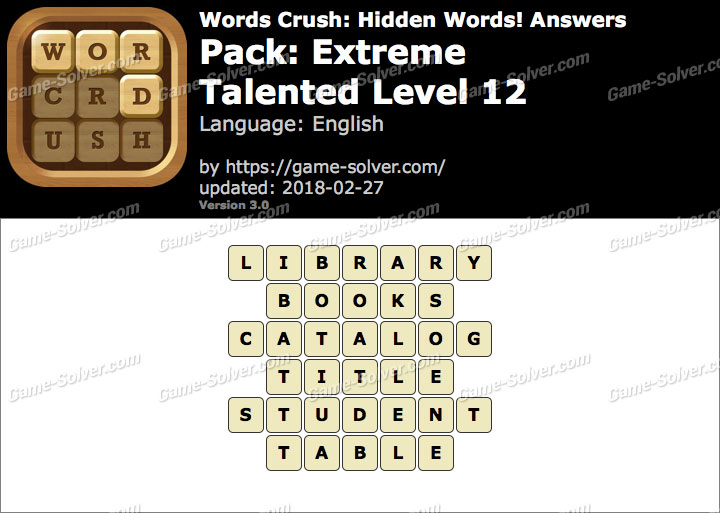 Words Crush Extreme-Talented Level 12 Answers