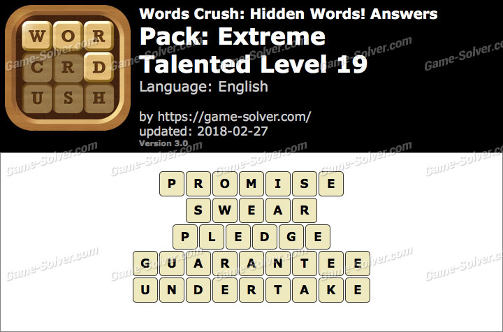 Words Crush Extreme-Talented Level 19 Answers