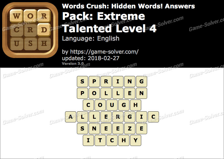 Words Crush Extreme-Talented Level 4 Answers