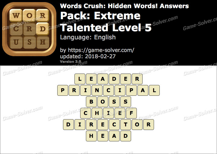 Words Crush Extreme-Talented Level 5 Answers