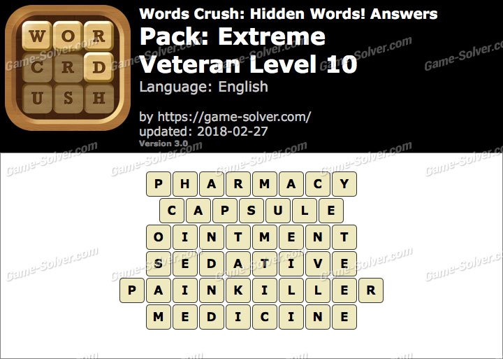Words Crush Extreme-Veteran Level 10 Answers