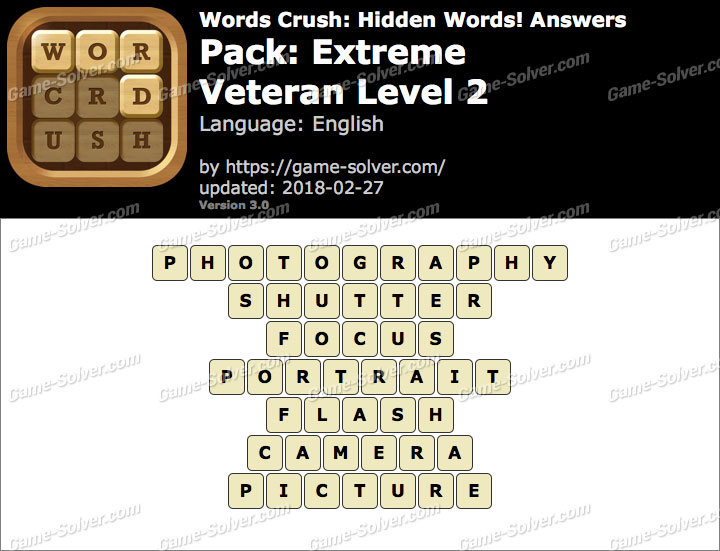 Words Crush Extreme-Veteran Level 2 Answers